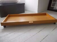 2 x Pine coloured underbed storage Drawers