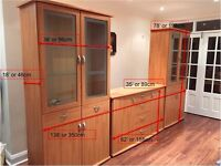 Modern Glass Display Cabinets and Matching Sideboard - Beach Finish- With Spot Lights For Sale VGC