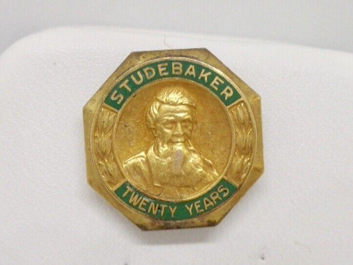 Antique 10K Yellow Gold Studebaker 20 Year Enamel Service Frat Pin