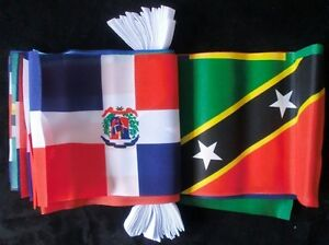 CARIBBEAN MULTI NATION 9 METRE FLAG BUNTING 30 FLAGS Jamaica St Lucia Trinidad