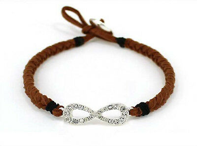 - Silver Toned Clear Rhinestone Adjustable Infinity Brown Braided String Bracelet