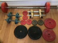 Barbell, dumbbells, weights