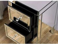 Boxed mirrored 2 drawer bedside tables