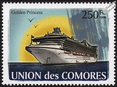 GOLDEN PRINCESS Grand-Class Cruise Ship Stamp (2008 Comoros)
