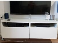 White high gloss IKEA floating TV stand