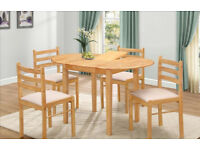 NEW CLEARANCE FACTORY ASSEMBLED OVAL EXTENDING NATURAL WOOD COLOUR DINING TABLE+4 CUSHION TOP SEATS