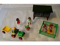 Playmobil rabbit hutch with rabbits and guinea pig, with childs tractor and trailer