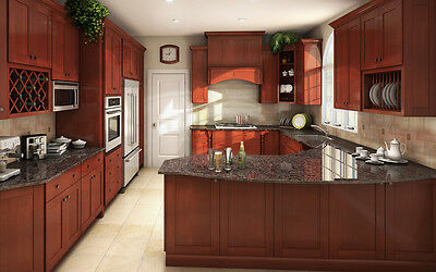 All Solid Wood Kitchen Cabinets 10x10 FULLY ASSEMBLED Shaker Brandy Birch Assemble Kitchen Cabinets