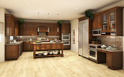 All Solid Wood Kitchen Cabinets 10x10 FULLY ASSEMBLED Wellington Stained Birch Assemble Kitchen Cabinets