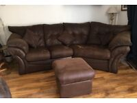 Cosy corner right handed sofa with armchair and footstool