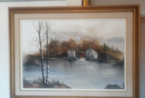 "Original Painting"" Autumn Scene with Cabins by Gaston Petridis"