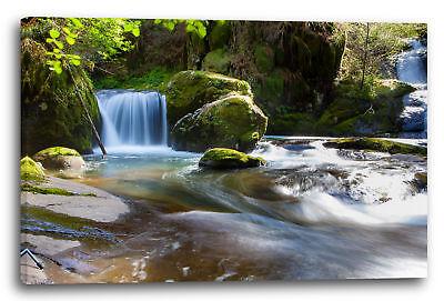 Vor Fall (Lein-Wand-Bild: Naturbilder Wasserfall in grüner Landschaft vor flachem Gewässer)