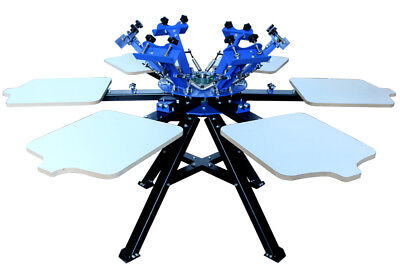 6 Color 6 Station Screen Printing Machine Press Printer T Shirt Print Equipment