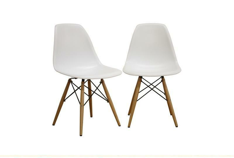 2 white eiffel plastic side dining chairs with wood dowel legs dsw new