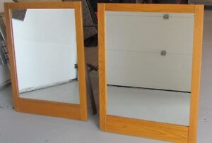 Two oak feature wall mirrors