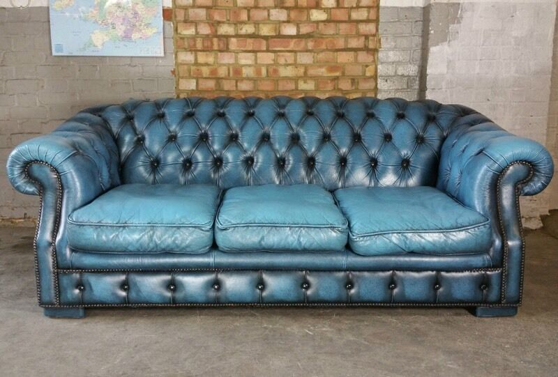 Blue Leather Chesterfield Sofa Black Brown Blue Leather