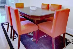 Cherry wood table and 6 suede chairs