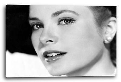Lein-Wand-Bild: Grace Kelly mit Hut und Gloss-Lippenstift Perlen-Ohrring (Kelly Lippenstift)
