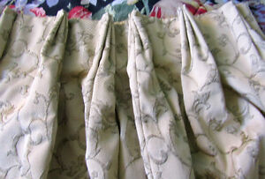 Two Sets of Jacquard Pleated & Lined Curtains (4 Panels)