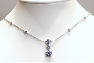 1.05C Tanzanite and 3.29g White Gold Necklace-Appraised $1233