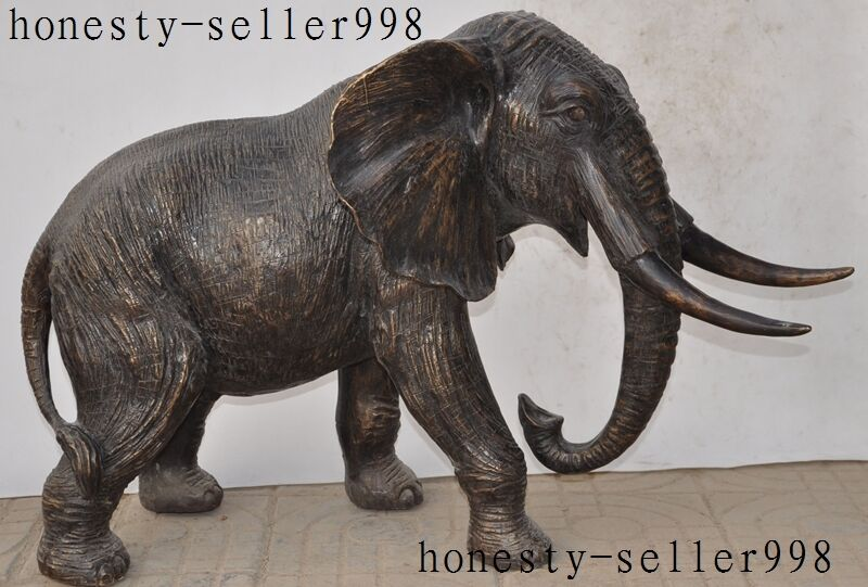 """35""""huge Old Chinese Fengshui Bronze  Auspicious Wealth Elephant Animal Statue"""