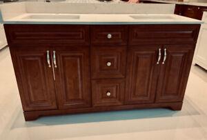 Floor Model on SALE!WalnutGlaze vanity+Premium quartztop 2 sinks