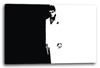 Lein-Wand-Bild: Filmplakat Filmmotiv Scarface Tony Montana Hintergrund schwarz-w