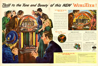 1947 2-page color magazine ad for Wurlitzer Model 1100 Jukebox