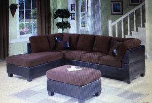 Selling microplush/ leather 2 piece sectional in chocolate
