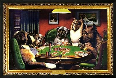 Dogs Playing Poker Lamina Framed Poster Print - 38x26