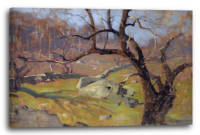 Lein-Wand-Bild: Landschafts-Gemälde blätter-loser Baum im Herbst ()