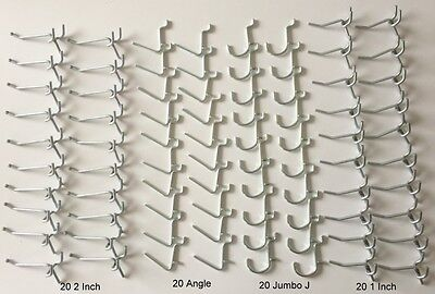 80 Pack Garage Tool Pegboard Display. 20 Ea Of 1 2 Angle And J Peg Hooks