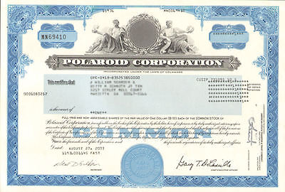 Polaroid Corporation > instant camera film collectible stock certificate