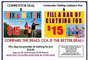 Fill a bag up to 50 with adult clothing for just $15!!