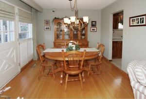 Solid Maple Dining Room Table & Hutch