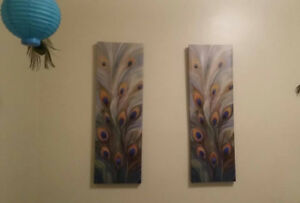 2 Peacock feather paintings