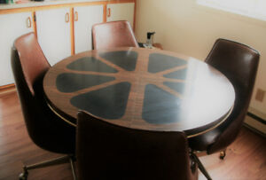 1970's VINTAGE -   Kitchen Table and  five (5) Chairs