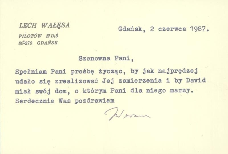 LECH WALESA (POLAND) - TYPED NOTE SIGNED 08/02/1987