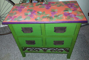 Storage side table hand painted