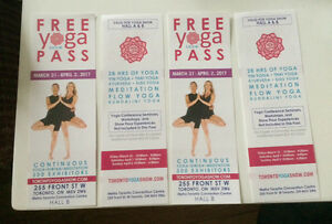 4 Tickets to Toronto Yoga Show March 31-April 2,2017