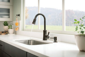 Faucet Moen Bronze One-Handle Pull-Down Kitchen Faucet with Soap