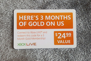 Xbox Live Gold 3 Month Subscription $24.99 Value