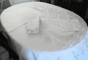 Vintage Damask Tablecloth and Napkins  Sussex