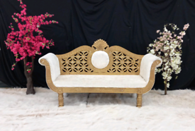 Large gold and white velvet sofa