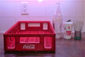 VINTAGE COCA-COLA CRATE, BOTTLE, GLASS AND OLYMPIC 92 GLASS