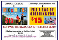 Fill a bag(we provide) up to 50 with adult clothing for $15!!