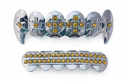 High Shine Silver Mouth Teeth Grills Grillz Set Cross Fangs CZ Yellow Stones (Set Yellow Grillz)