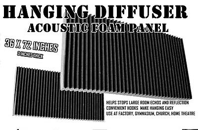 6FT LONG  pro Acoustic Foam wedge panel  diffuser Hangs from ceiling BLOCKS ECHO
