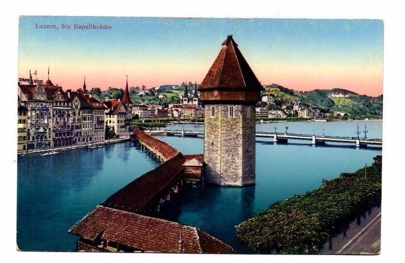 Switzerland - Lucerne/Luzern, Die Kapellbrucke - 1917 Postcard