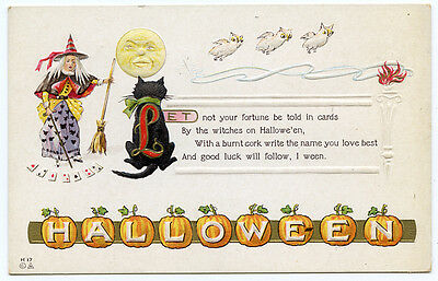 Halloween Witch Black Cat Owls Man in Moon JOL - Halloween Man In Black